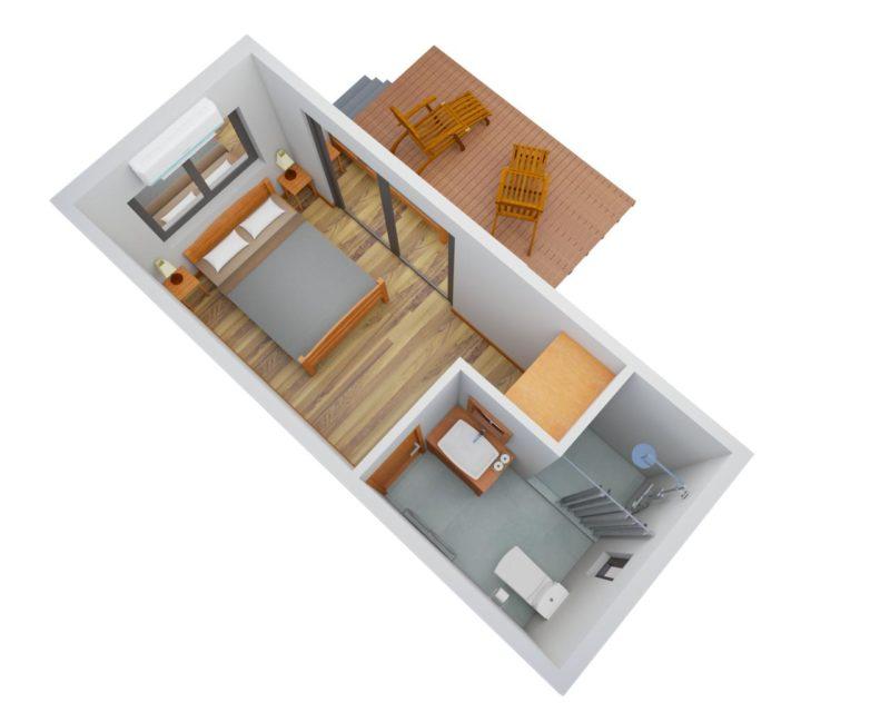 Project 1- renderings: Single cabin   Lay